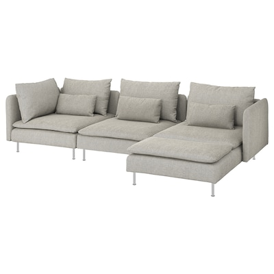 "SÖDERHAMN sectional, 4-seat with chaise/Viarp beige/brown 32 5/8 "" 27 1/8 "" 59 1/2 "" 114 5/8 "" 39 "" 48 "" 5 1/2 "" 27 1/2 "" 15 3/8 """