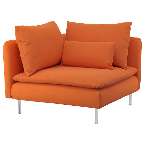 "SÖDERHAMN corner section Samsta orange 39 "" 39 "" 32 5/8 "" 24 3/4 "" 18 7/8 "" 15 3/4 """