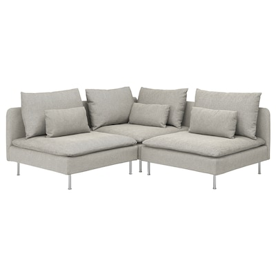 "SÖDERHAMN sectional, 3-seat corner Viarp beige/brown 32 5/8 "" 27 1/8 "" 39 "" 75 5/8 "" 75 5/8 "" 5 1/2 "" 27 1/2 "" 15 3/8 """