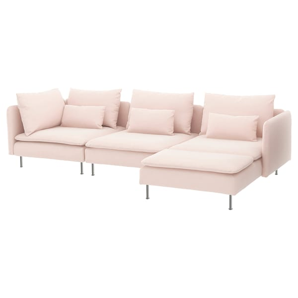 SÖDERHAMN Sectional, 4-seat, with chaise/Samsta light pink