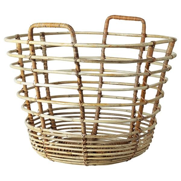 SOLBLEKT Basket with handles, rattan