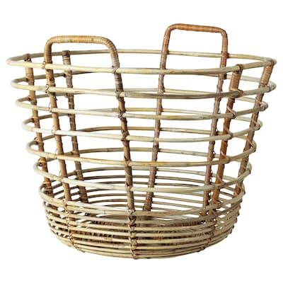 "SOLBLEKT basket with handles rattan 17 ¼ "" 17 ¼ "" 16 ¼ "" 15 lb 18 gallon"