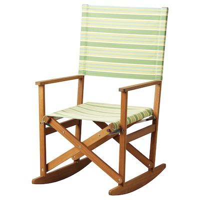 "SOLBLEKT rocking chair foldable eucalyptus/stripe green 220 lb 23 5/8 "" 29 1/2 "" 43 1/4 "" 17 3/4 "" 20 1/2 "" 18 1/8 """