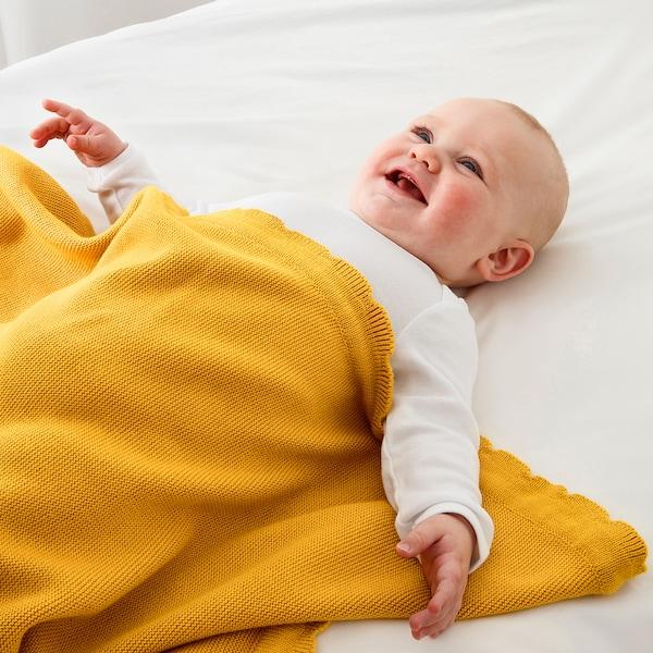 "SOLGUL Baby blanket, dark yellow, 27 1/2x35 3/8 """