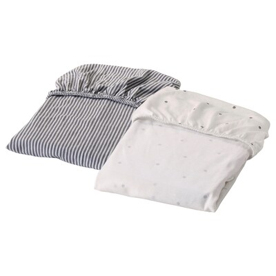 "SOLGUL fitted sheet for cradle dotted/stripe 31 7/8 "" 19 5/8 "" 2 pack"