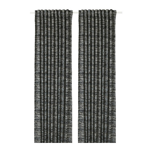 SOLIDASTER Blackout curtains, 1 pair, black, multicolor black/multicolor 57x98