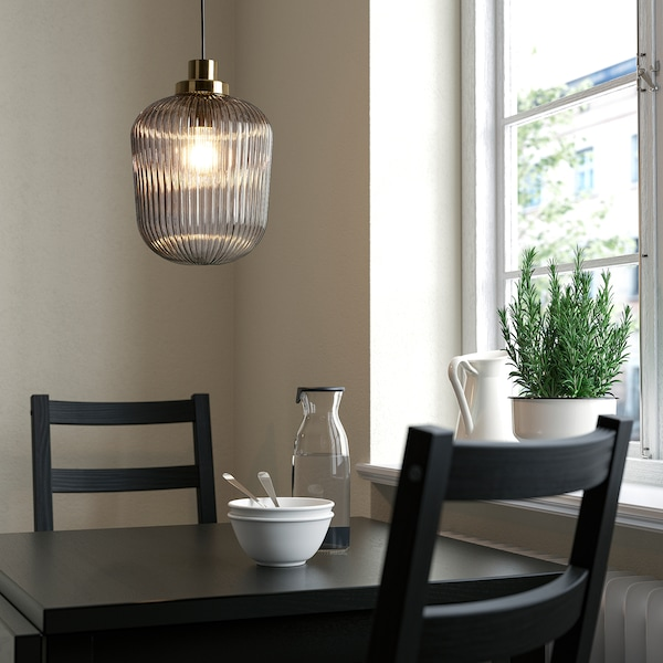 "SOLKLINT Pendant lamp, brass/gray clear glass, 9 """