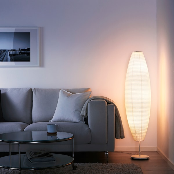 """SOLLEFTEÅ floor lamp with LED bulb oval white 40 W 13 """" 50 """" 9 """" 5 ' 7 """""""