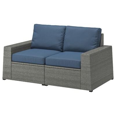 "SOLLERÖN 2-seat modular sofa, outdoor, dark gray/Frösön/Duvholmen blue, 63 3/8x32 1/4x34 5/8 """