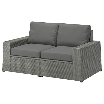 "SOLLERÖN 2-seat modular sofa, outdoor dark gray/Frösön/Duvholmen dark gray 63 3/8 "" 32 1/4 "" 34 5/8 "" 49 1/4 "" 18 7/8 "" 17 3/8 """