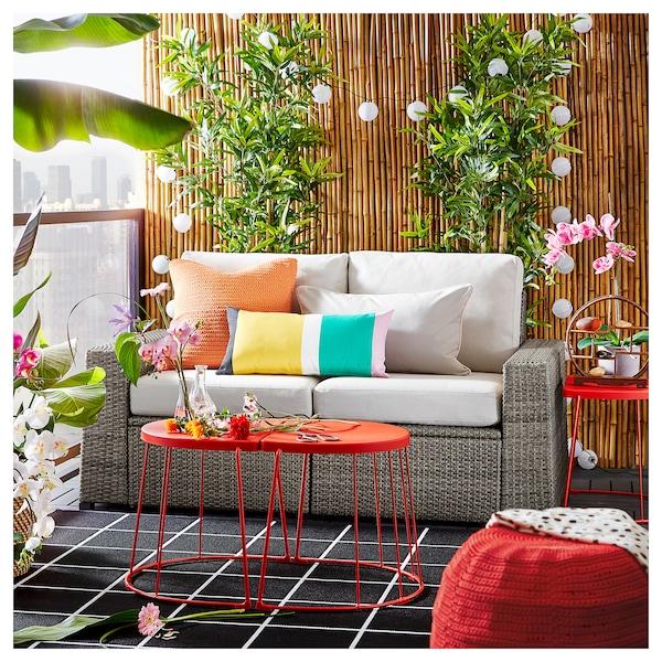 "SOLLERÖN 2-seat modular sofa, outdoor dark gray/Frösön/Duvholmen beige 63 3/8 "" 32 1/4 "" 34 5/8 "" 49 1/4 "" 18 7/8 "" 17 3/8 """