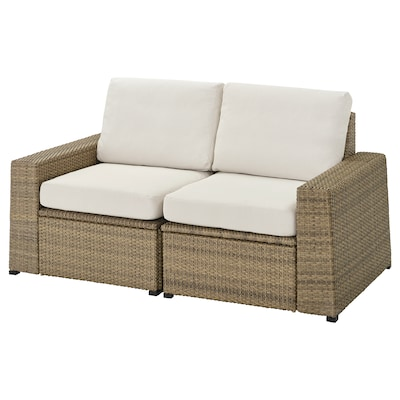 "SOLLERÖN 2-seat modular sofa, outdoor brown/Frösön/Duvholmen beige 63 3/8 "" 32 1/4 "" 34 5/8 "" 49 1/4 "" 18 7/8 "" 17 3/8 """