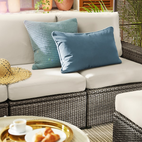 "SOLLERÖN 3-seat modular sofa, outdoor, dark gray/Frösön/Duvholmen beige, 87 3/4x32 1/4x34 5/8 """