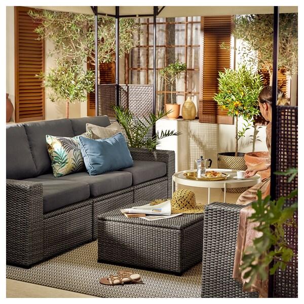 """SOLLERÖN 3-seat modular sofa, outdoor, dark gray/Frösön/Duvholmen dark gray, 87 3/4x32 1/4x34 5/8 """""""