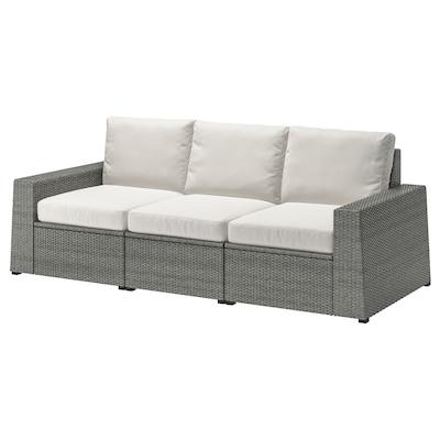 "SOLLERÖN 3-seat modular sofa, outdoor dark gray/Frösön/Duvholmen beige 87 3/4 "" 32 1/4 "" 34 5/8 "" 73 5/8 "" 18 7/8 "" 17 3/8 """