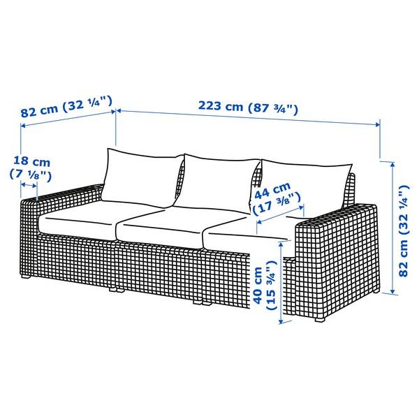 IKEA SOLLERÖN 3-seat modular sofa, outdoor