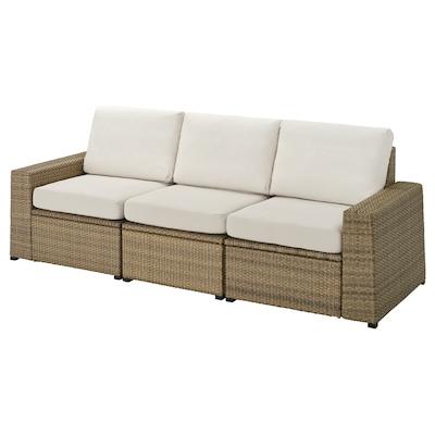 "SOLLERÖN 3-seat modular sofa, outdoor brown/Frösön/Duvholmen beige 87 3/4 "" 32 1/4 "" 34 5/8 "" 73 5/8 "" 18 7/8 "" 17 3/8 """