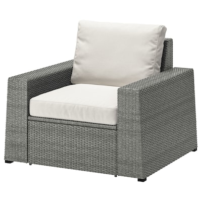SOLLERÖN Armchair, outdoor, dark gray/Frösön/Duvholmen beige