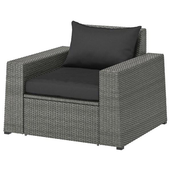 SOLLERÖN Armchair, outdoor, dark gray/Hållö black