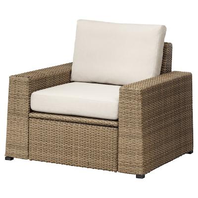 "SOLLERÖN armchair, outdoor brown/Frösön/Duvholmen beige 38 5/8 "" 32 1/4 "" 34 5/8 "" 24 3/8 "" 18 7/8 "" 17 3/8 """