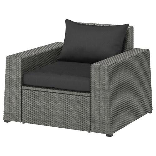 "SOLLERÖN armchair, outdoor dark gray/Hållö black 38 5/8 "" 32 1/4 "" 32 1/4 "" 24 3/8 "" 21 1/4 "" 15 3/4 """
