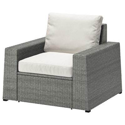 "SOLLERÖN armchair, outdoor dark gray/Frösön/Duvholmen beige 38 5/8 "" 32 1/4 "" 34 5/8 "" 24 3/8 "" 18 7/8 "" 17 3/8 """