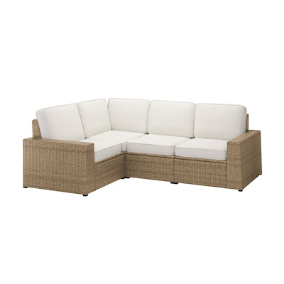 SOLLERÖN Modular corner sofa 3-seat, outdoor, brown/Järpön/Duvholmen white