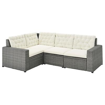 SOLLERÖN Modular corner sofa 3-seat, outdoor, dark gray/Kuddarna beige