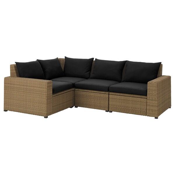 Modular corner sofa 3-seat, outdoor SOLLERÖN brown, Hållö black