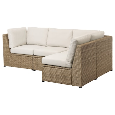 "SOLLERÖN modular corner sofa 3-seat, outdoor brown/Frösön/Duvholmen beige 33 1/2 "" 34 5/8 "" 56 3/4 "" 89 "" 18 7/8 "" 17 3/8 """