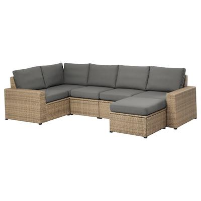 SOLLERÖN Modular corner sofa 4-seat, outdoor, with footstool brown/Frösön/Duvholmen dark gray