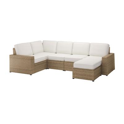 SOLLERÖN Modular corner sofa 4-seat, outdoor, with footstool brown/Järpön/Duvholmen white
