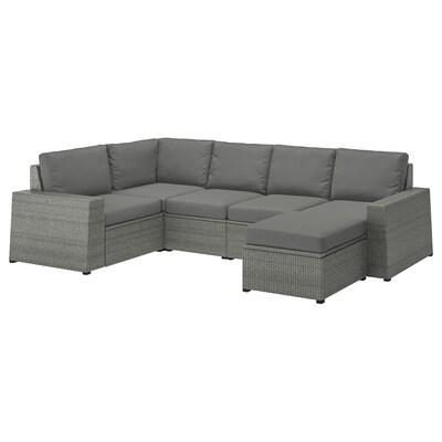 SOLLERÖN Modular corner sofa 4-seat, outdoor, with footstool dark gray/Frösön/Duvholmen dark gray