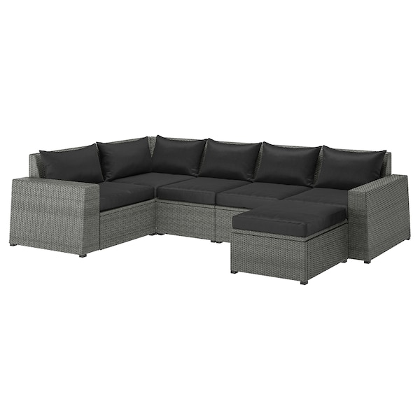 Magnificent Modular Corner Sofa 4 Seat Outdoor Solleron With Footstool Dark Gray Hallo Black Caraccident5 Cool Chair Designs And Ideas Caraccident5Info
