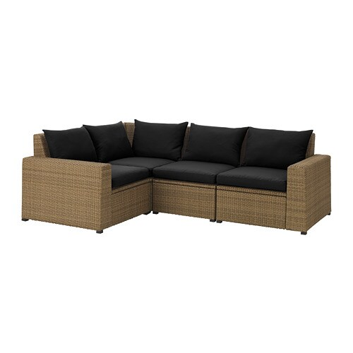 SOLLERÖN Modular corner sofa 3-seat, outdoor - brown/Hållö black - IKEA