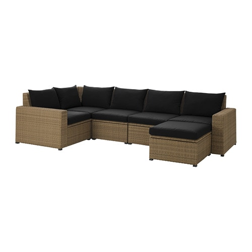 SOLLERÖN Modular corner sofa 4-seat, outdoor - with footstool brown ...
