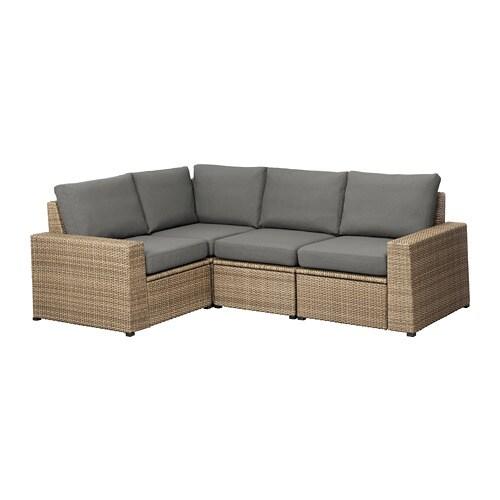 SOLLERÖN Modular corner sofa 3-seat, outdoor - brown/Frösön ...