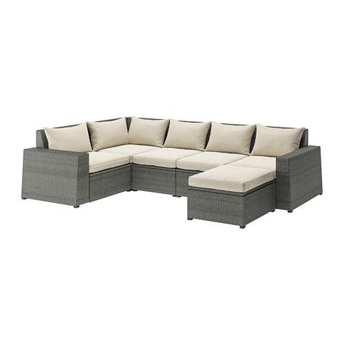 SOLLERÖN Modular corner sofa 4-seat, outdoor - with footstool dark ...