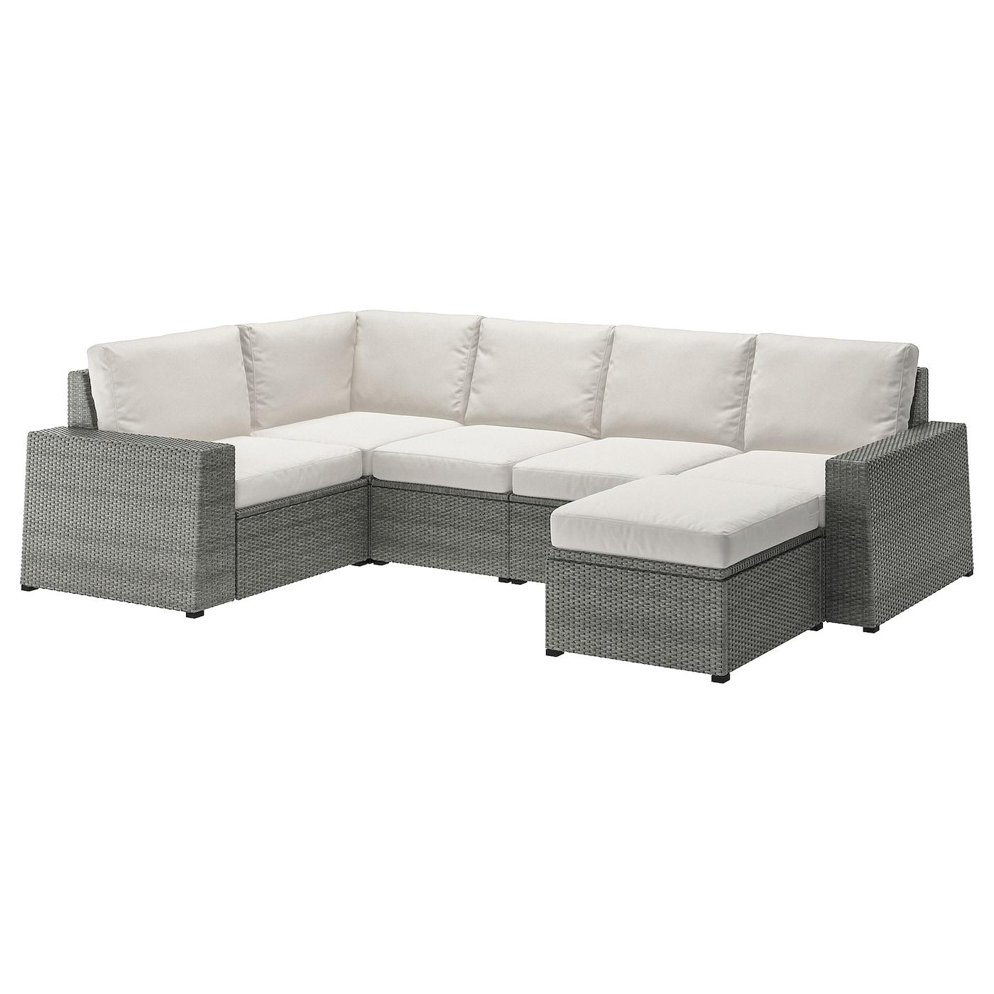 SOLLERÖN Modular corner sofa 4-seat, outdoor, with footstool dark gray,  Hållö beige