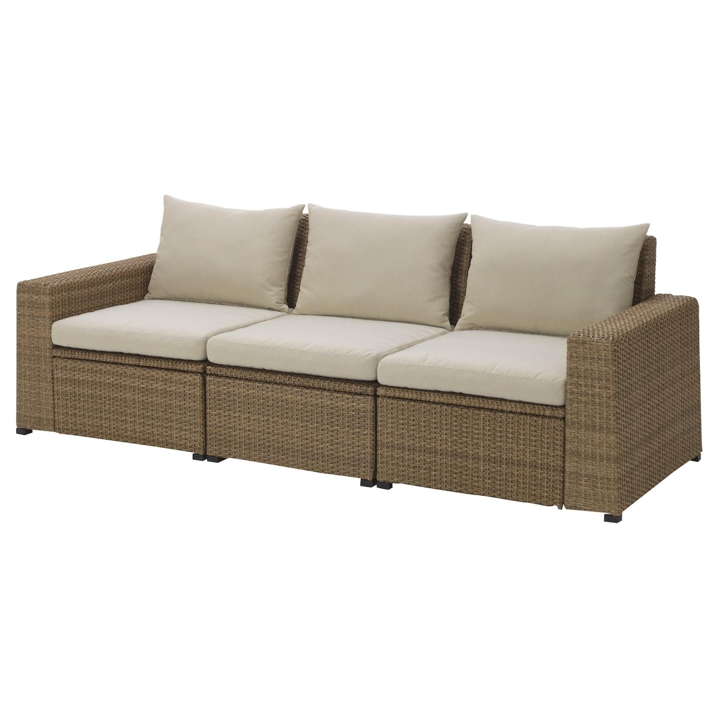 SOLLERÖN 3-seat modular sofa, outdoor, brown, Hållö beige