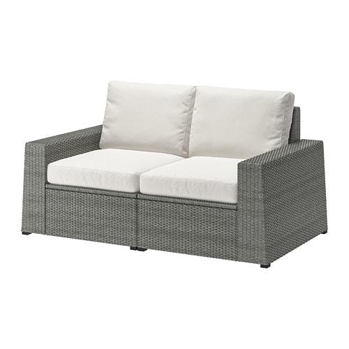 SOLLERÖN 2-seat modular sofa, outdoor, dark gray, Hållö beige