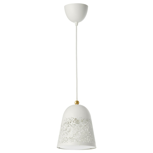 SOLSKUR Pendant lamp, white/brass color