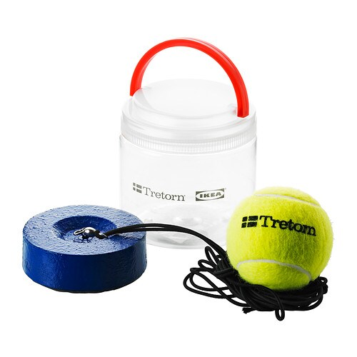 SOLUR Tennis trainer IKEA The long elastic band follows the ball freely and doesn't tangle because it's connected to a rotating fitting at the base.