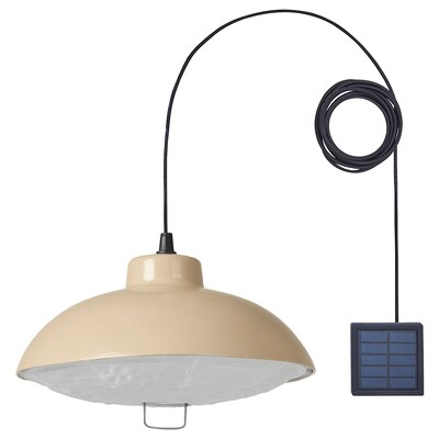 SOLVINDEN LED solar-powered pendant lamp, outdoor/beige, 15 ""