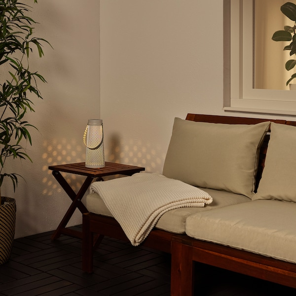 "SOLVINDEN LED solar-powered table lamp, cone-shaped white, 10 5/8 """