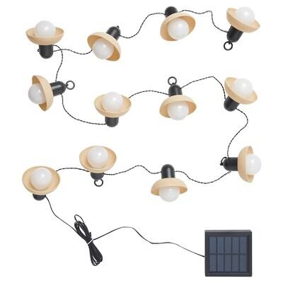SOLVINDEN LED string light with 12 lights, outdoor solar-powered/mini lantern beige