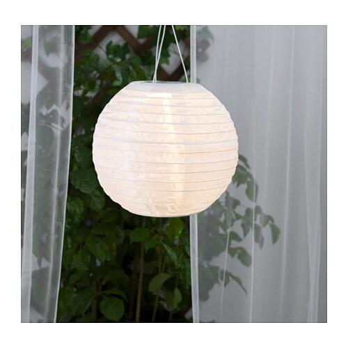SOLVINDEN Solar-powered pendant lamp, globe white globe white 12