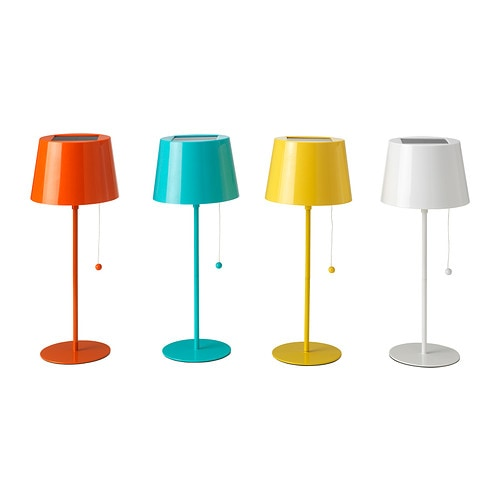 SOLVINDEN Solar-powered table lamp IKEA No cost for electricity.   The solar panel converts sunlight to energy.  Easy to use.