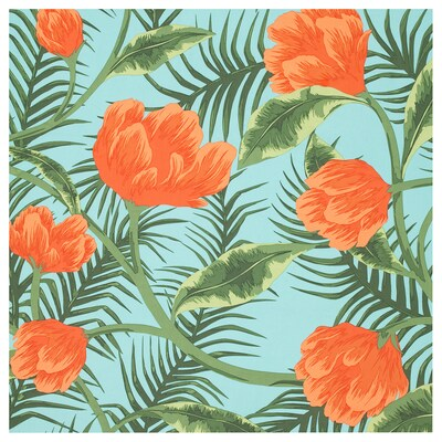 SOMMAR 2020 fabric turquoise orange/flowers and leaves 59 ""