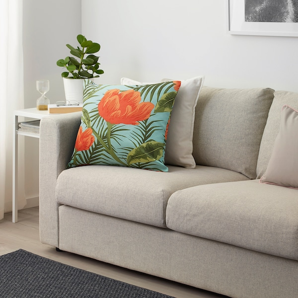 """SOMMAR 2020 Fabric, turquoise orange/flowers and leaves, 59 """""""